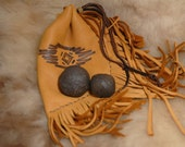 Moqui Marbles, Shaman Stones with tribal leather pouch