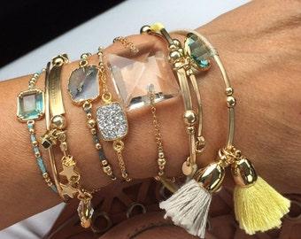 Modern friendship bracelet.vintage crystal bracelet.14k gold filled beaded bracelets.Braided bracelet with rare Gem stone.Everyday jewelry