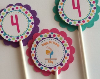 Birthday Cupcake Toppers, 12 Girls Birthday Cupcake Toppers - Gymnastics, Tumbling Birthday Party Decorations