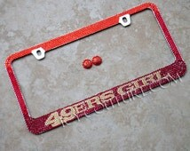 49ERS GIRL Swarovski Crystals License Plate Frame