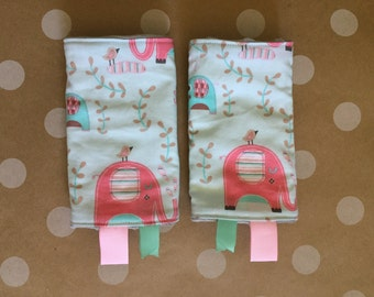 Reversible Baby Carrier Drool pads: elephants with minky