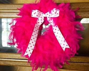 Ready to be Shipped! Hot pink feather boa wreath