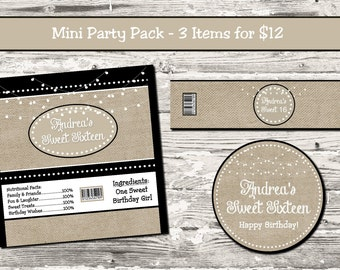 Burlap Stringlights Sweet Sixteen Birthday Any Age Mini Party Pack Digital Candy Wrapper Water Bottle Label Cupcake Topper