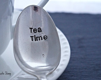 Tea Time, Stamped Spoon, Tea Lover Gift, Vintage Spoon, Stamped Silverware, Stamped Flatware, Unique Gift, Gift for Friend, Custom Spoon