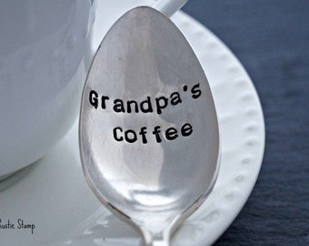 Grandpa's Coffee, Stamped Spoon, Gift for Him, Gift for Grandpa, Coffee Spoon, Vintage Spoon, Stamped silverware, Stamped flatware
