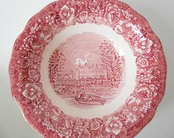 Palissy THAMES RIVER SCENES bowl red white Transferware English cottage dining / traditional landscape Eton College