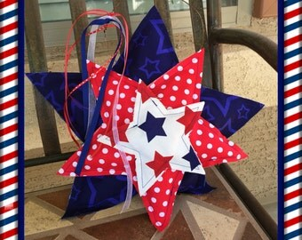 4th of July Fabric Heart Door Hanger