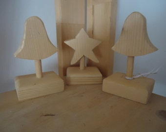 3 x wooden freestanding christmas yule decorations star, , bells,  rustic shabby chic