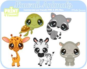 Instant Download Kawaii Animals Clipart // Safari Clipart // Raccoon Clipart // Turtle Clipart // Hippo Clipart // Giraffe Clipart // zoo