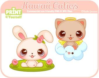 Kawaii Cuties Clipart- Instant Download Clipart - Clipart - Commercial Use Clipart - Png Clipart - Cute Clipart - Kawaii Clipart