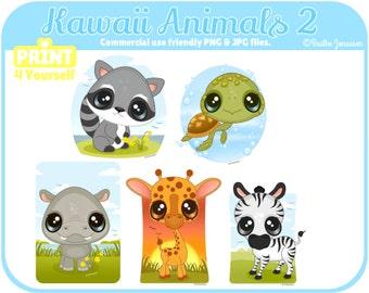 Instant Download Kawaii Animals 2 Clipart // Safari Clipart // Raccoon Clipart // Turtle Clipart // Hippo Clipart // Giraffe Clipart // zoo