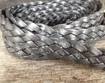 Pewter gray metallic flat braided leather cord, 5 strand flat leather