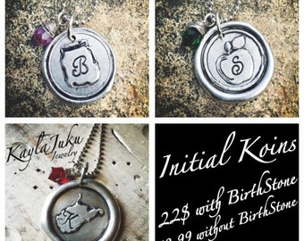 Monogrammed wax seal necklace