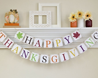 Happy Thanksgiving Banner, Thanksgiving Decor, Fall Banner, Thanksgiving Garland, Thanksgiving Banner