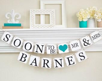 Engagement parti Decor, douche nuptiale, bientôt la bannière, idées fête de fiançailles, douche nuptiale Decor, Couples douche, Dark Teal, B202