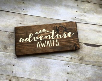 Wood Sign, Adventure Awaits Sign, Wanderlust Sign, Travel Sign, Adventure Sign, Explorer Sign, Housewarming Gift