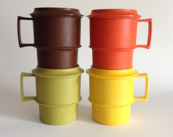 Tupperware Mugs with Coasters - Harvest Colors Orange Brown Yellow Avocado Green
