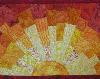 Art Quilt Sun Blocky 3, Quilted Wall Hanging