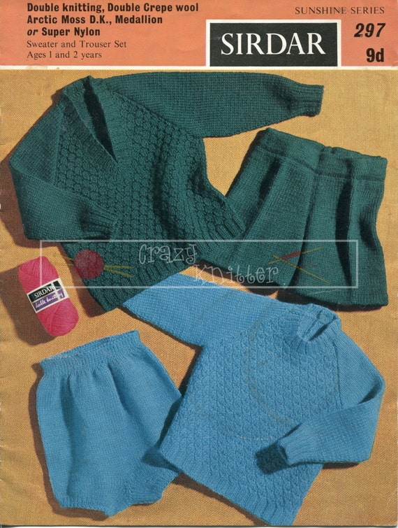 Baby Sweater & Trouser Set 1-2 years DK Sirdar 297 Vintage Knitting Pattern PDF instant download