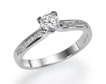 "GIA Gold Diamond Engagement Ring 0.37 carat E/Vs2 ""Lovers Poem"" Whitw/Yellow/ Rose 14k Natural Diamonds"