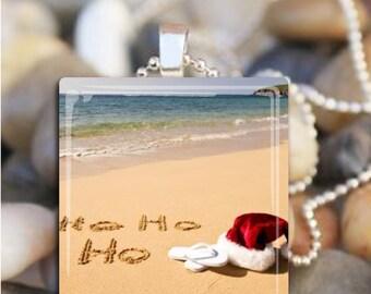 Santa Beach Necklace Glass Tile Jewelry Ho Ho Ho Christmas necklace gift
