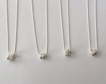 Sterling Silver Knot Necklace - Handmade//925//Bead Chain//Unique//Bridal//