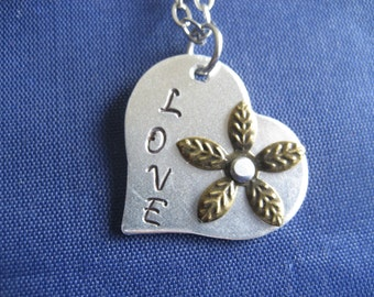 Love Hand Stamped Necklace - Heart Necklace - Riveted Flower Necklace