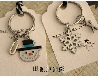 Set of 2 Personalized Snowman and Snowflake Keychains His and Hers Couple Keychain Best Friends Valentine's Keychain