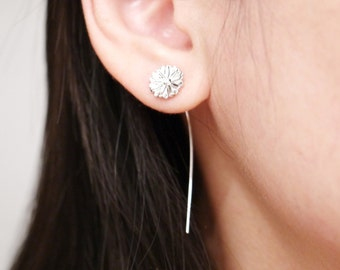 Silver Mum Flower Long Wire Earring, Two Side Earrings, Ear Jackets