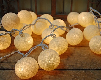 White Cotton Ball Lights for Chirtsmas and home decoration,wedding patio,indoor string lights,bedroom fairy lights,20 Bulbs