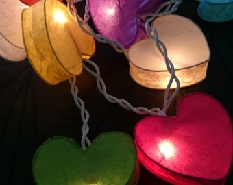 Color Heart mulberry paper Lanterns String Lights Fairy,Kid's Room/Night Lighting, wedding party decoration (20 bulbs)