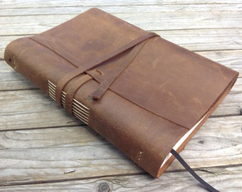 Leather bound wedding guestbook A4 ( 11.5 x 7.5 inch )