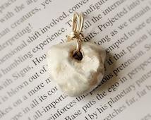 Hag stone pendant. Crystal pendant. Handmade. Silver filled. Metaphysical pendant. Holey stone.OOAK. Pagan