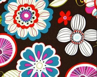 Michael Miller Fabric, Tweet Birdie Tweet Brown Fabric, Flower Quilting Fabric