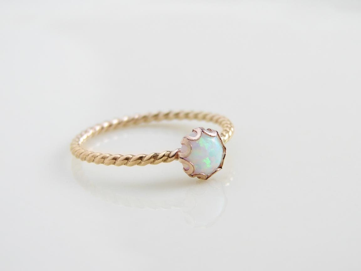 14k gold filled small opal ring october birthday gift for