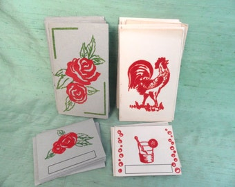 Flocked bridge tallies / vintage rooster  rose / contract bridge tally