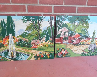 Two larger Paint By Number paintings, garden, fountain, statue / PBN set of 2