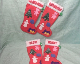 Family retro Christmas stocking set / 4 homemade hanging vintage felt stockings / Grandmom Granddad, Mommy, Daddy