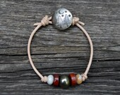 Pyrite Jasper . Leather Bracelet . Sterling Handmade Button . In The Forest Button . Boho . Glass . Wedding Gift .Bracelet. Boho .