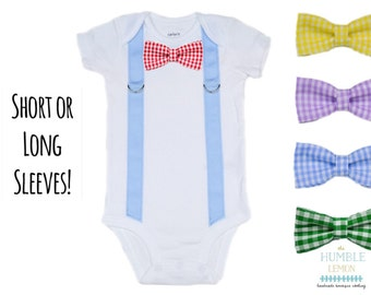 Suspender and Bow Tie Baby Boy Bodysuit with Interchangable Bow Tie: Easter, Preemie, Coming Home Outfit, Family Photos