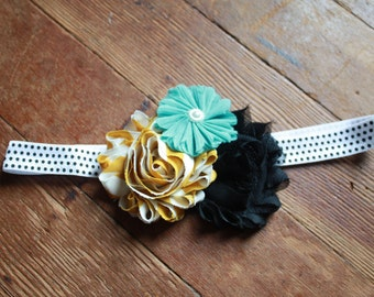Black dot Headband with Mustard Yellow, Black and Mint Green Shabby Flowers