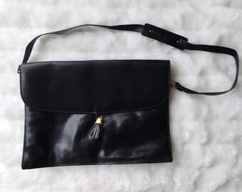 Vintage Large Blue Leather Envelope Bag