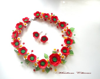 Necklace with poppies, decoration with daisies, daisies, poppies, flower pendant, earrings poppies, handmade, poppies  polymer clay poppy