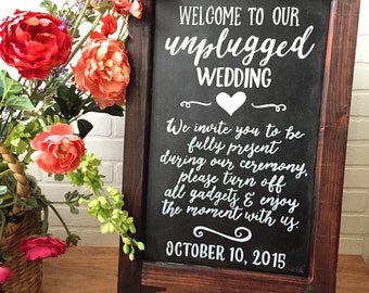 Wedding Chalkboard Easel • Unplugged Wedding Chalkboard Sign • Wedding Welcome Sign Easel • Wedding Sandwich Board