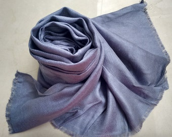 Self Textured Dull Blue Modal Jacquard Scarf
