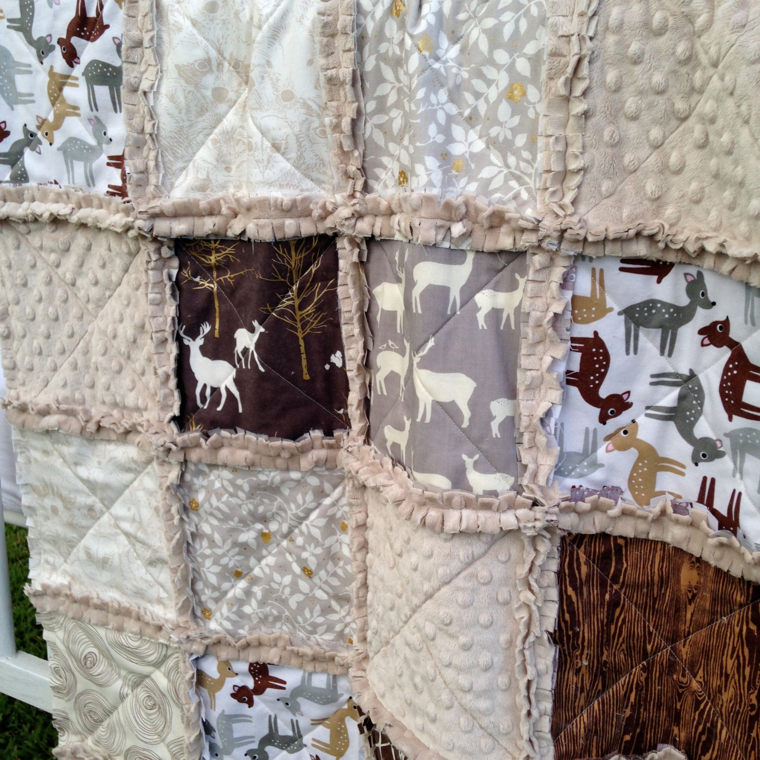 Crib Rag Quilt Woodland Deer Elk Baby Boy Bedding Tan Made To