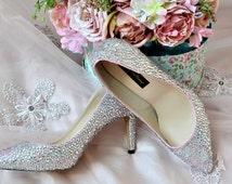 Swarovski Crystal Silver Glitter Bridal High Heel Stiletto Luxury Custom dye Pearlescent Pink Pearl Leather Pump