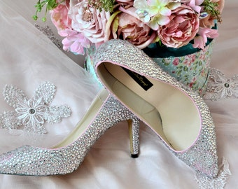 Swarovski Crystal Silver Glitter Bridal High Heel Stiletto Luxury Custom dye Pearlescent Pink Pearl Leather Pump
