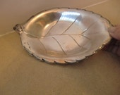"Silver Plated Small Dish leaf shape .9"" x 5''. pre owned"