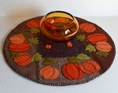 Handmade Felted Wool Crazy Patch Autumn Pumpkins Candle Mat Table Topper